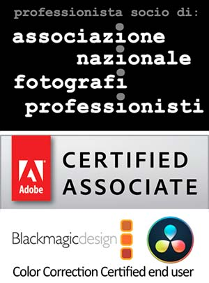 Loghi Associazione nazionale fotografi professionisti Adobe Certified Blackmagic DaVinci Resolve